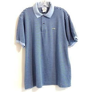 Lacoste Blue on Blue Striped Pique Polo Shirt